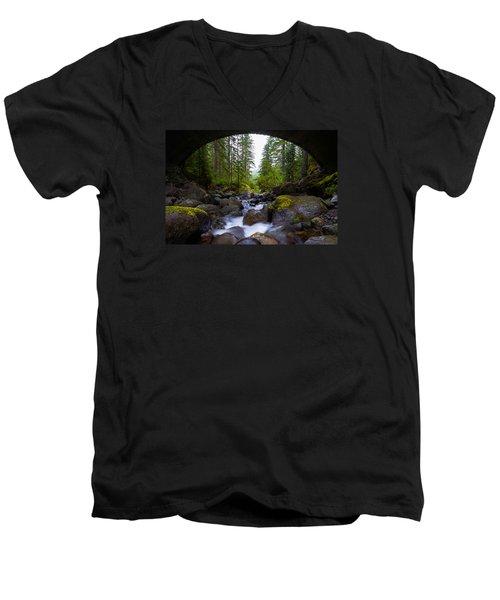 Bridge Below Rainier Men's V-Neck T-Shirt