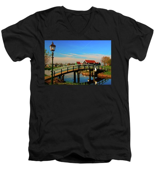 Men's V-Neck T-Shirt featuring the photograph Bridge Over Calm Waters by Jonah  Anderson