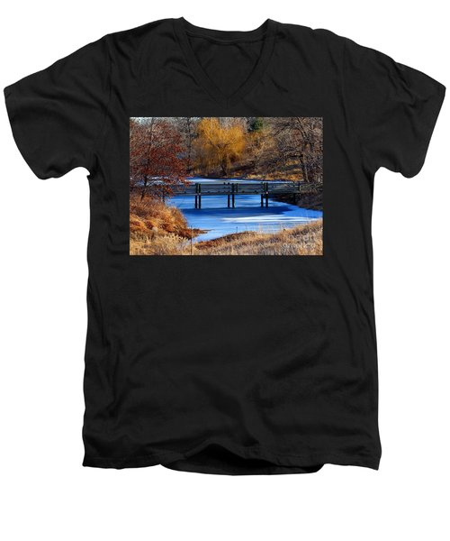 Men's V-Neck T-Shirt featuring the photograph Bridge Over Icy Waters by Elizabeth Winter