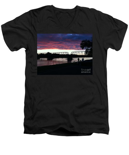 Bridge Sunset In June Men's V-Neck T-Shirt