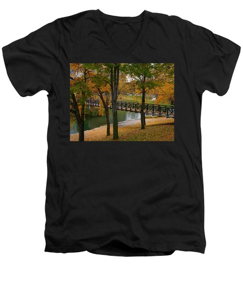 Men's V-Neck T-Shirt featuring the photograph Bridge To Fall by Elizabeth Winter