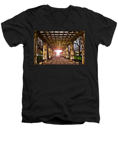 Men's V-Neck T-Shirt featuring the photograph Bridge To The Light From The Series The Imprint Of Man In Nature by Verana Stark