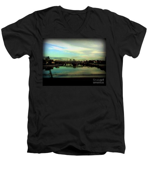 Men's V-Neck T-Shirt featuring the photograph Bridge With White Clouds by Miriam Danar