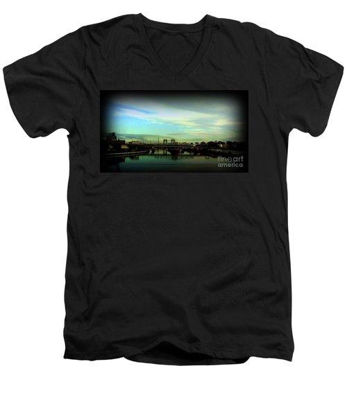 Men's V-Neck T-Shirt featuring the photograph Bridge With White Clouds Vignette by Miriam Danar