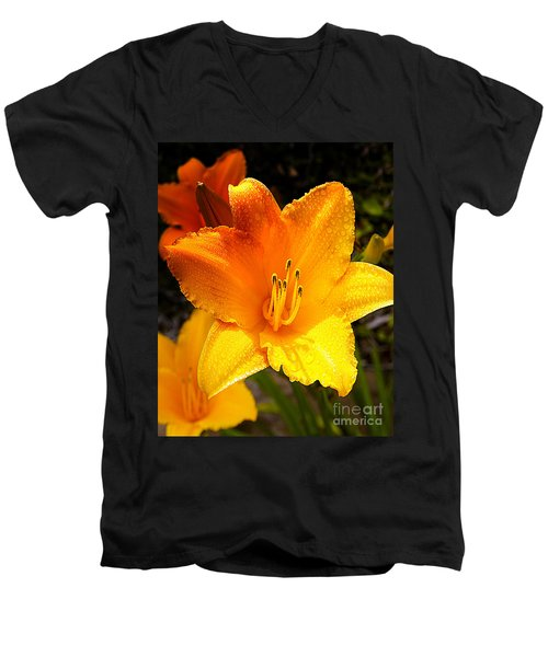 Bright Yellow Daylily Flower Men's V-Neck T-Shirt