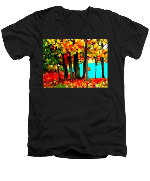 Brightness In The Forest Men's V-Neck T-Shirt by Bruce Nutting