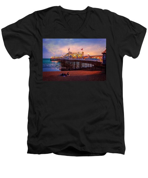 Men's V-Neck T-Shirt featuring the photograph Brighton's Palace Pier At Dusk by Chris Lord