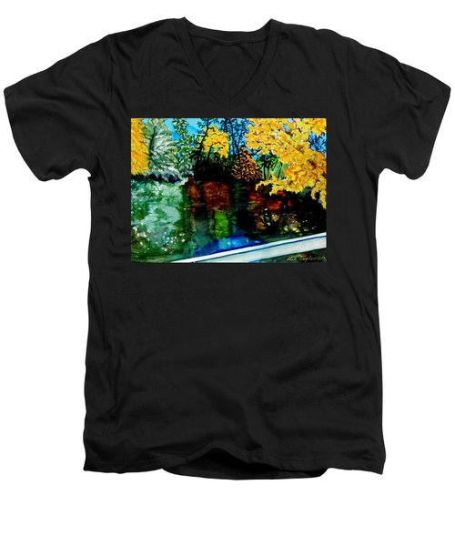 Brilliant Mountain Colors In Reflection Men's V-Neck T-Shirt by Lil Taylor
