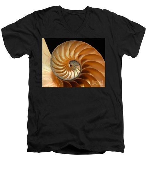 Brilliant Nautilus Men's V-Neck T-Shirt by Phil Cardamone
