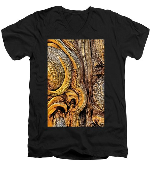 Men's V-Neck T-Shirt featuring the photograph Bristlecone Pine Bark Detail White Mountains Ca by Dave Welling