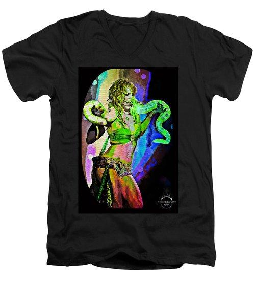 Britney Neon Dancer Men's V-Neck T-Shirt by Absinthe Art By Michelle LeAnn Scott