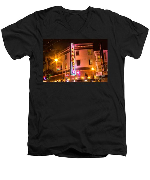 Men's V-Neck T-Shirt featuring the photograph Broadway At Night by Suzanne Luft