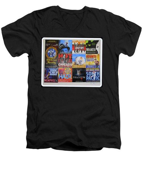 Broadway's Favorites Men's V-Neck T-Shirt by Dora Sofia Caputo Photographic Art and Design
