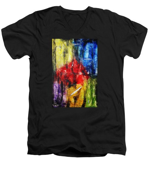 Men's V-Neck T-Shirt featuring the painting Broken 4 by Michael Cross