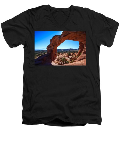 Men's V-Neck T-Shirt featuring the photograph Broken Arch Under Blue Sky by Peta Thames