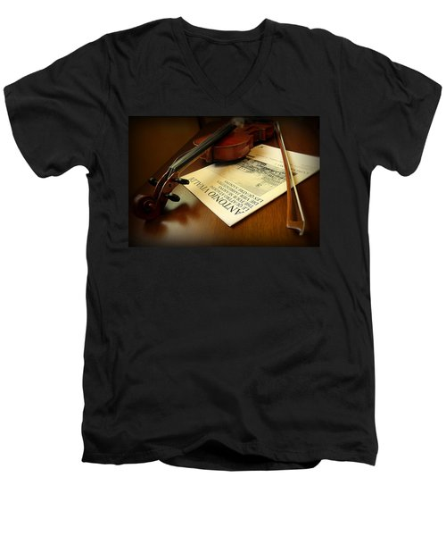 Men's V-Neck T-Shirt featuring the photograph Broken String by Lucinda Walter