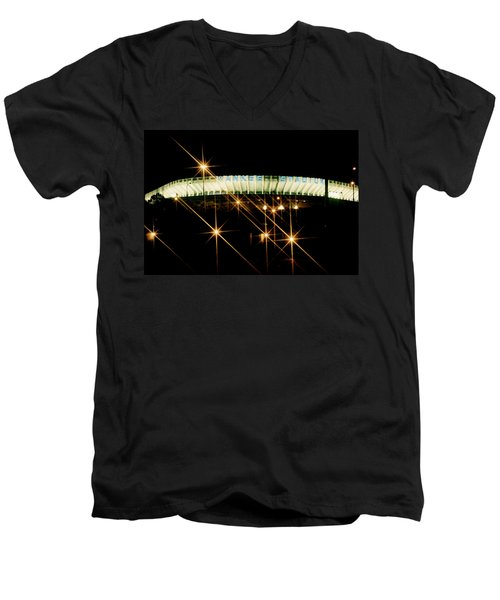 Bronx Night  Iv Yankee Stadium Men's V-Neck T-Shirt by Iconic Images Art Gallery David Pucciarelli