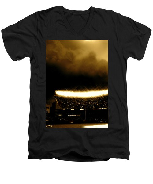 Bronx Storm Yankee Stadium  Men's V-Neck T-Shirt by Iconic Images Art Gallery David Pucciarelli