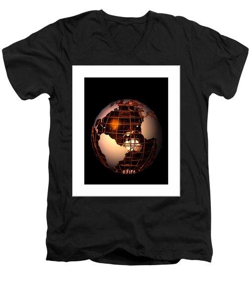 Men's V-Neck T-Shirt featuring the digital art Bronze Globe... by Tim Fillingim