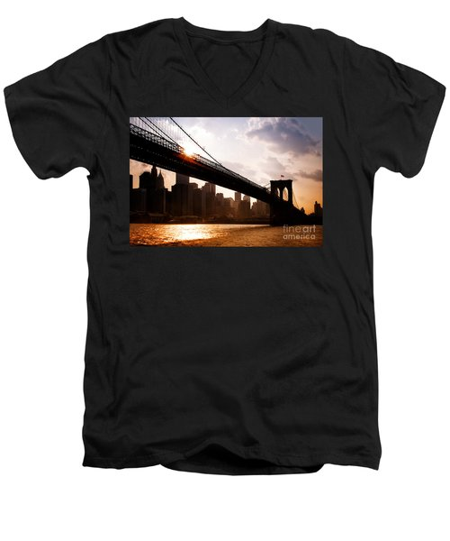 Brooklyn Bridge And Skyline Manhattan New York City Men's V-Neck T-Shirt by Sabine Jacobs