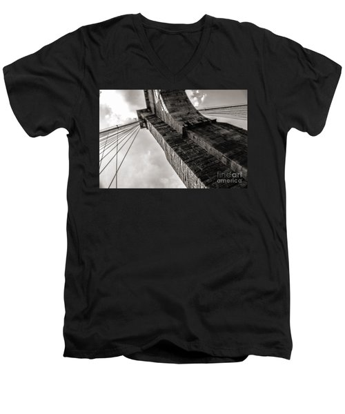 Men's V-Neck T-Shirt featuring the photograph Brooklyn Bridge by Angela DeFrias