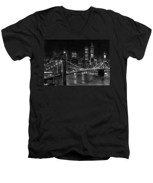 Brooklyn Bridge New York Men's V-Neck T-Shirt