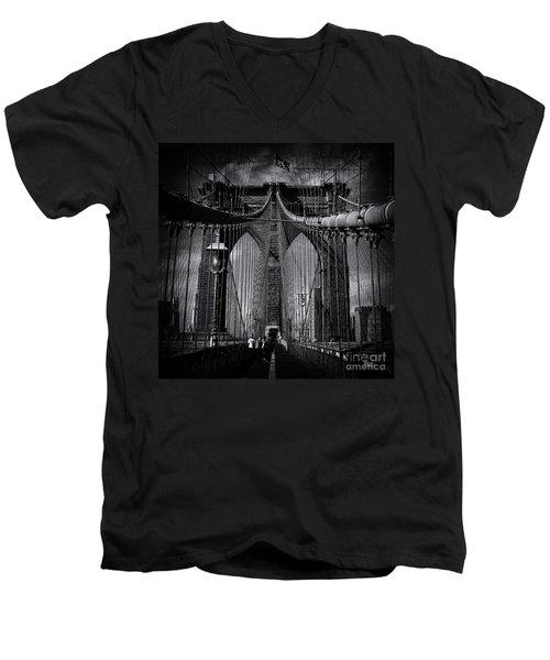 Brooklyn Bridge Up Close New York City Men's V-Neck T-Shirt