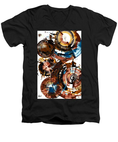Men's V-Neck T-Shirt featuring the painting Brown And Blue Spherical Joy - 992.042212 by Kris Haas