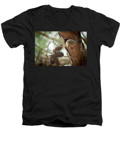 Brown Headed Nuthatch Men's V-Neck T-Shirt by Linda Unger