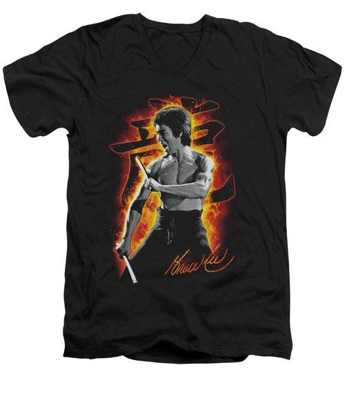 Bruce Lee - Dragon Fire Men's V-Neck T-Shirt by Brand A