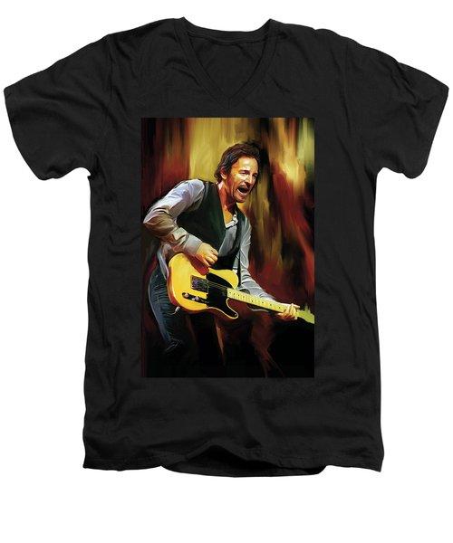 Bruce Springsteen Artwork Men's V-Neck T-Shirt by Sheraz A