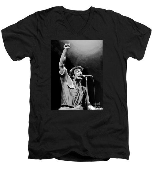 Bruce Springsteen Men's V-Neck T-Shirt by Meijering Manupix