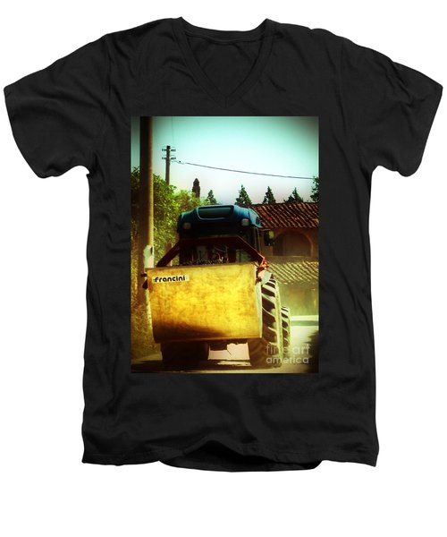 Men's V-Neck T-Shirt featuring the photograph Brunello Taxi by Angela DeFrias