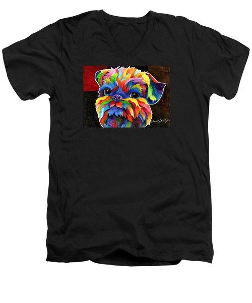 Brussels Griffon Men's V-Neck T-Shirt by Sherry Shipley
