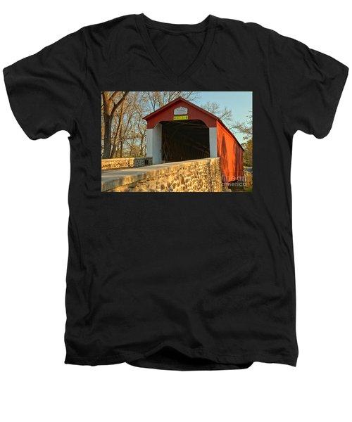 Bucks County Van Sant Covered Bridge Men's V-Neck T-Shirt