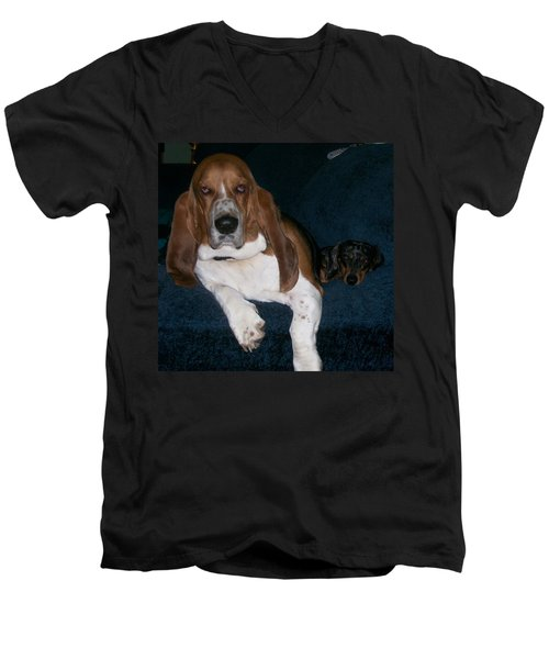 Men's V-Neck T-Shirt featuring the photograph Buddies by Peter Suhocke