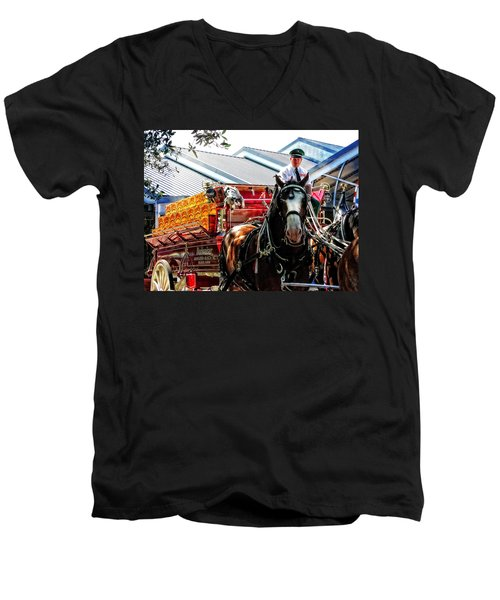 Budweiser Beer Wagon Men's V-Neck T-Shirt by Mike Martin