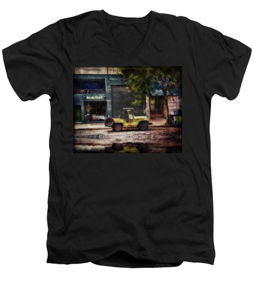 Buenos Aires Jeep Under The Rain Men's V-Neck T-Shirt