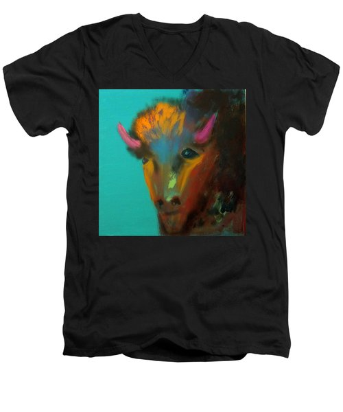 Men's V-Neck T-Shirt featuring the painting Buffalo by Keith Thue