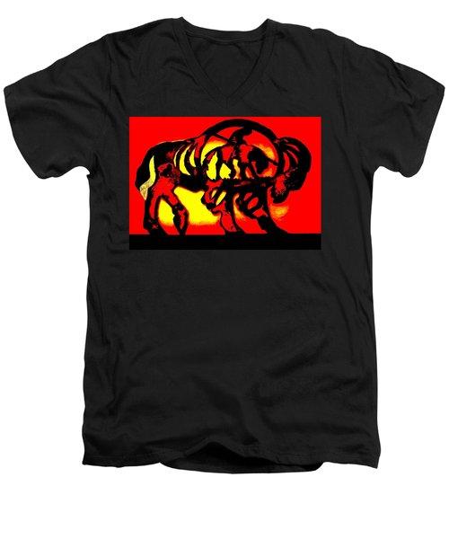 Buffalo Sun Set Men's V-Neck T-Shirt