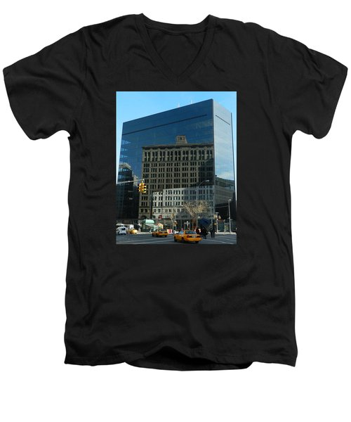 Men's V-Neck T-Shirt featuring the photograph Building Reflections Nyc by Emmy Marie Vickers