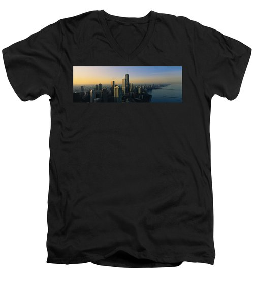 Buildings At The Waterfront, Chicago Men's V-Neck T-Shirt by Panoramic Images