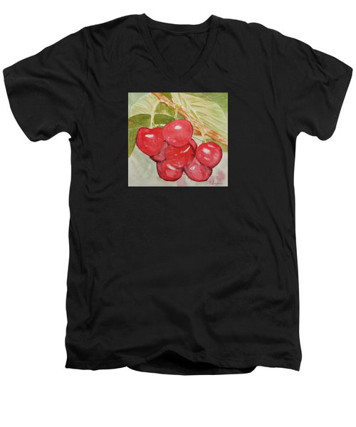 Bunch Of Red Cherries Men's V-Neck T-Shirt by Elvira Ingram