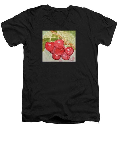 Bunch Of Red Cherries Men's V-Neck T-Shirt