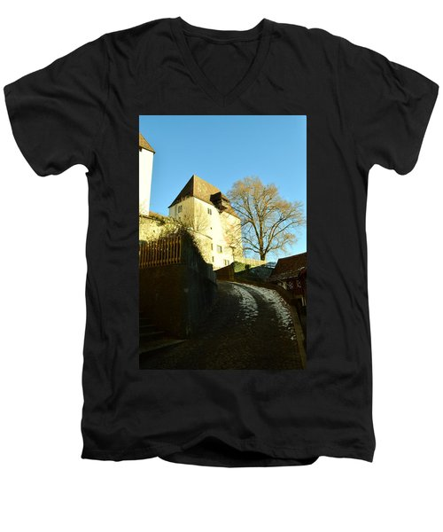 Men's V-Neck T-Shirt featuring the photograph Burgdorf Castle In December by Felicia Tica