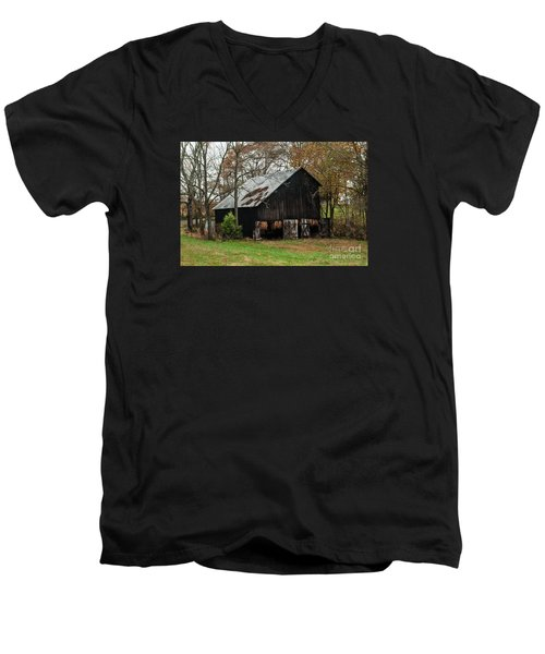 Men's V-Neck T-Shirt featuring the photograph Burley Tobacco  Barn by Debbie Green