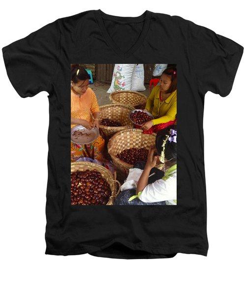 Men's V-Neck T-Shirt featuring the photograph Burmese Ladies Sorting Water Chestnuts Zay Cho Street Market 29th Street Mandalay Burma by Ralph A  Ledergerber-Photography