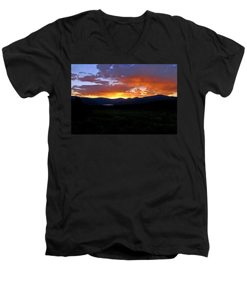 Men's V-Neck T-Shirt featuring the photograph Burning Of Uncertainty by Jeremy Rhoades