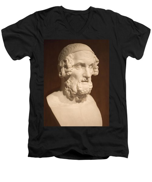 Men's V-Neck T-Shirt featuring the photograph Bust Of Homer by Mark Greenberg