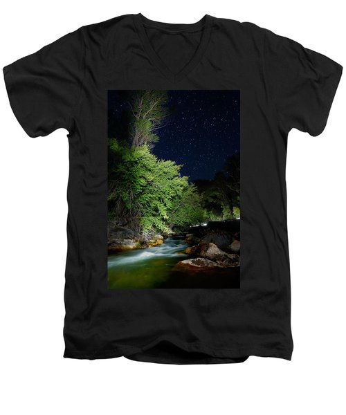 Men's V-Neck T-Shirt featuring the photograph Busy Night by David Andersen